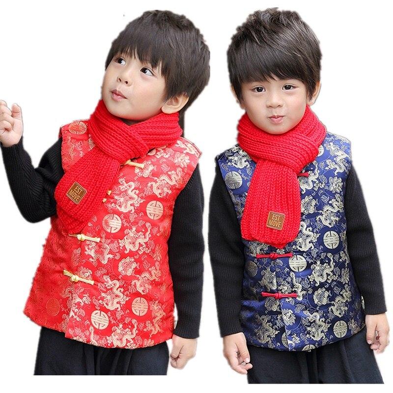 China Drachen Kinder Weste 2019 Neue Jahr Baby Jungen Weste Frühling Festival Tang Anzug Jungen Mantel Cheongsam Outfit Tank Top 2-14