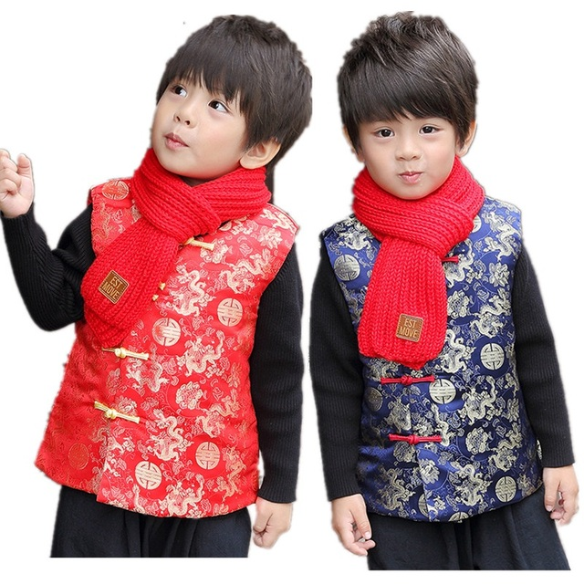 2775eb7a88 US $14.79 7% OFF|China Dragon Children Vest 2019 New Year Baby Boy  Waistcoat Spring Festival Tang Suit Boys Coat Cheongsam Outfit Tank Top 2  14-in ...