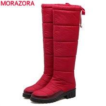 MORAZORA وصل حديثًا موضة 2020 حذاء للثلج للنساء فوق الركبة بلون أسود وأحمر حذاء شتوي دافئ للأسفل أحذية نسائية من الفرو السميك