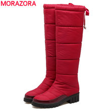 MORAZORA New arrive 2019 fashion knee high women snow boots black red color warm down winter boots ladies thick fur botas(China)