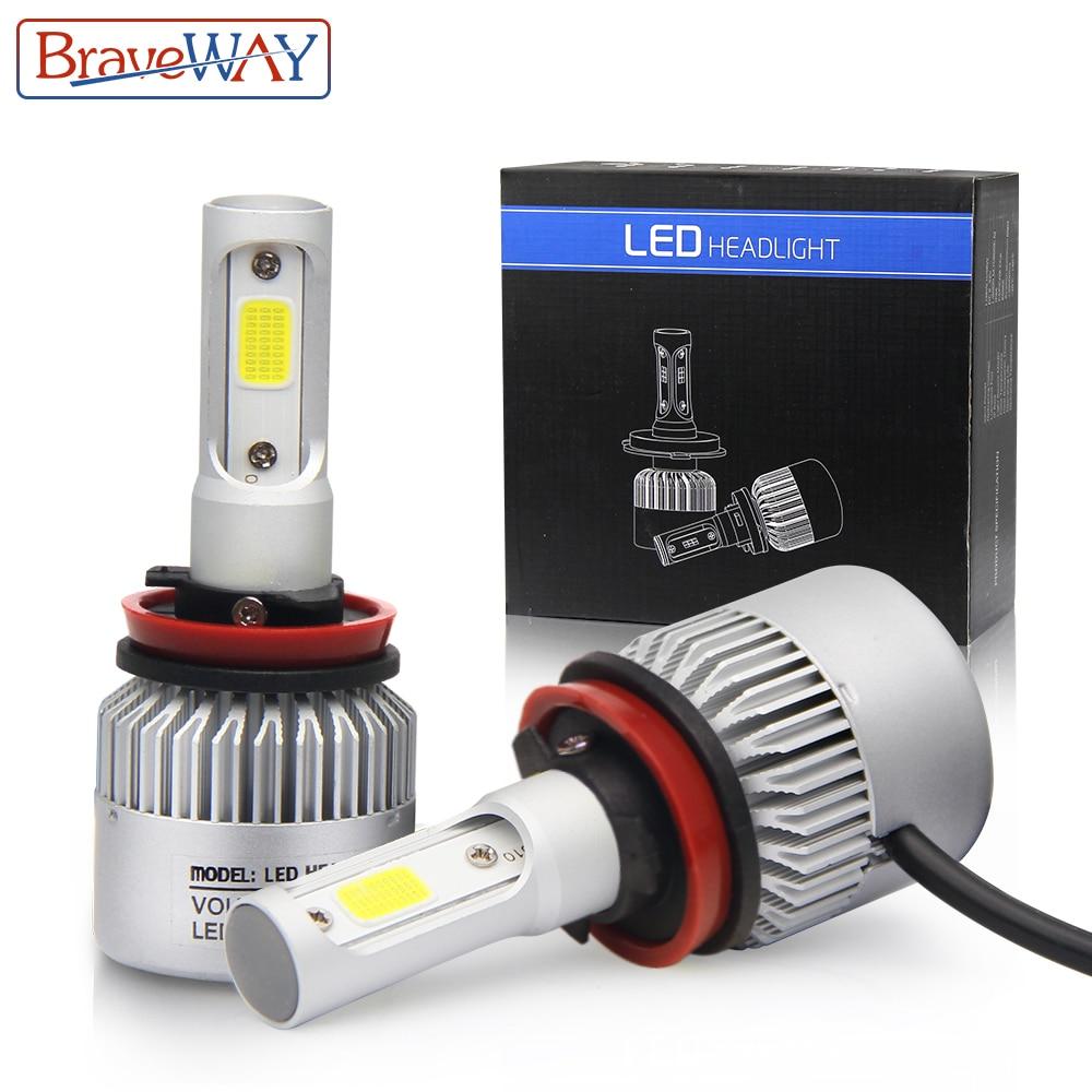 BraveWay H11 H13 LED Ampoules Voiture H4 H7 LED Phare 9005 9006 Light Car Auto Lampe 8000LM 6500 k 3000 k Led Double Petite Taille