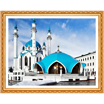 5D Diamond Painting Cross Stitch Mosque Picture of Rhinestones Diamond Embroidery Landscape Round Drill Needlework