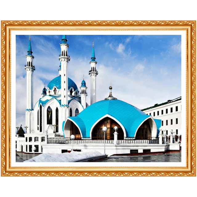 5D Diamond Painting Cross Stitch Mosque Picture of Rhinestones Diamond Embroidery Landscape Round Drill Needlework Decor