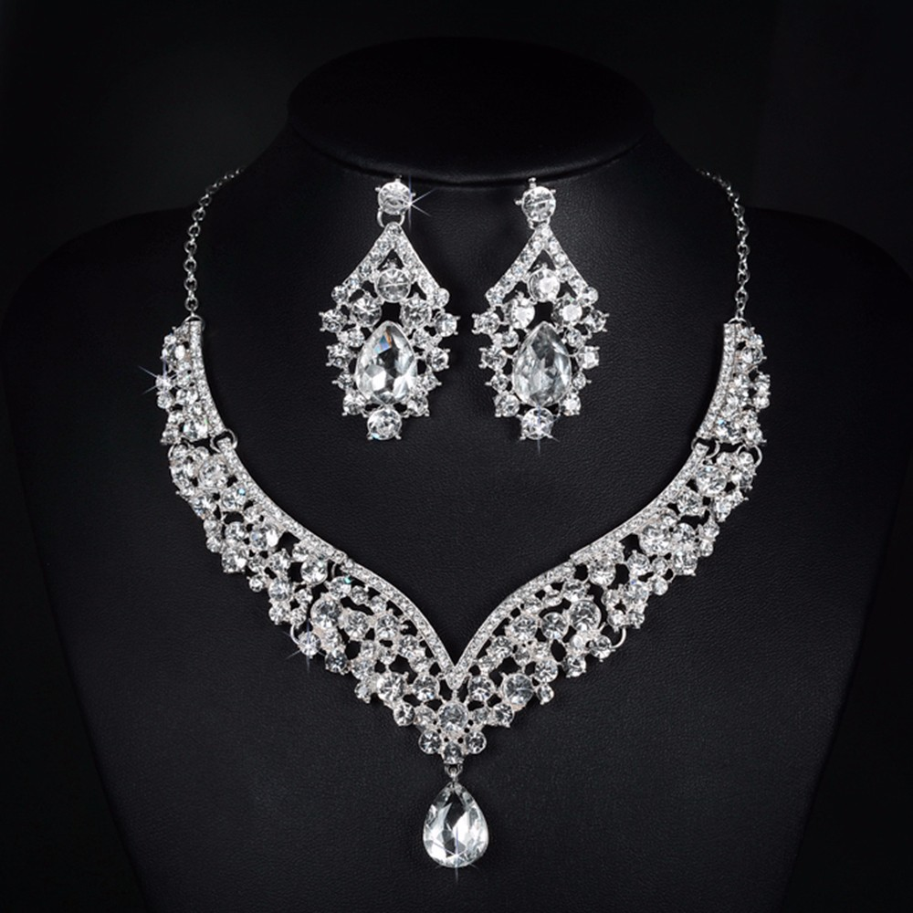 V necklace and earrings luxury crystal jewelry sets wedding engagement bijouterie romantic vintage cz diamond embroidery decoration D022 (4)