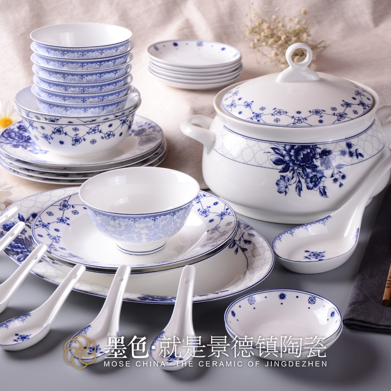 Jingdezhen ceramic tableware high-grade bone China blue and white porcelain is Chinese s ...