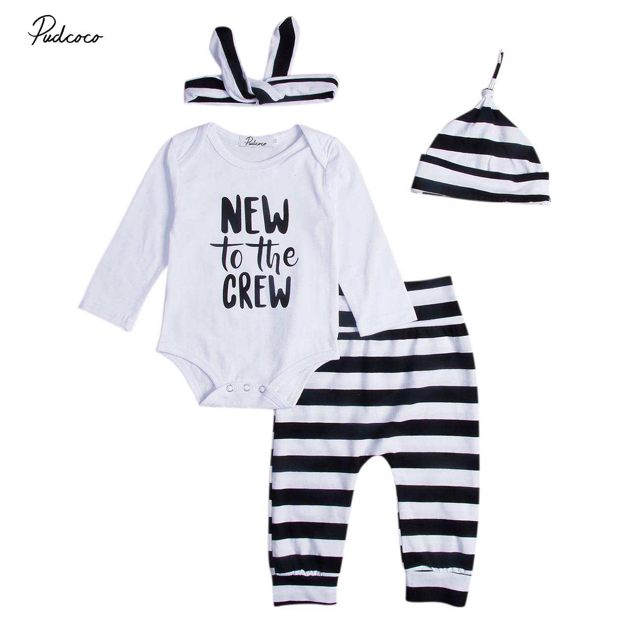 4PCS Toddler Infant Baby Boy Girls Letter Bodysuit+Striped Pants Leggings+Headband+Hat Fashion Clothes Set HOT SALE