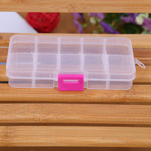 10 Grids Adjustable Jewelry Beads Pills Nail Art Tips Storage Box Case hard transparent Plastic Jewelry Tool Box hard transpare