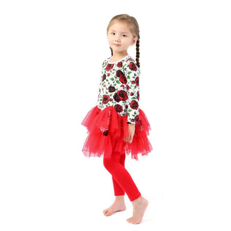 Kaiya Angel 2017 enfants coton fleur imprimé à volants rouge pivoine robe Leggings 2 pièces ensemble fille vêtements printemps automne tenues ensembles
