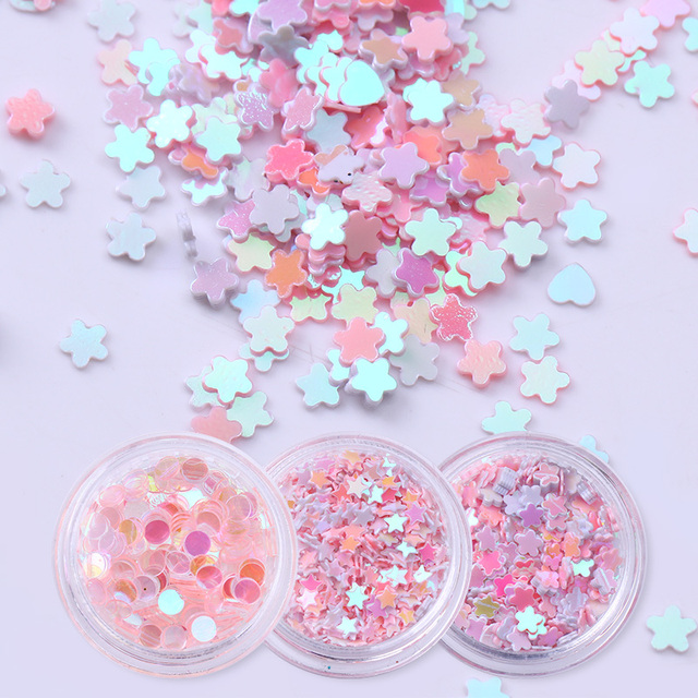 12 Boxes/Set 3D Holographic Nail Sequins Glitter AB Color Flakies Pink Star Heart Pearl Nail Art Decoration Manicure Design
