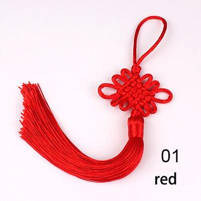 Color : 02 pink LSBXWL 2pcs//lot 12cm Multicolor Chinese Knot Silk Tassel Brush Fringe Phone Satin Tassels Pendant Tassels For Crafts Home Decor