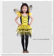 Envío libre, niños chica adulto del partido de Halloween amarillo abeja ladyfly conjunto rojo mariquita disfraz con wing diadema(China (Mainland))