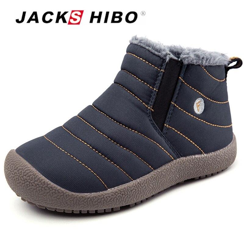 JACKSHIBO invierno Botas Niño nieve del invierno para niño niña invierno  calentamiento felpa Niño impermeable nieve zapatos 4c0500f1cd6