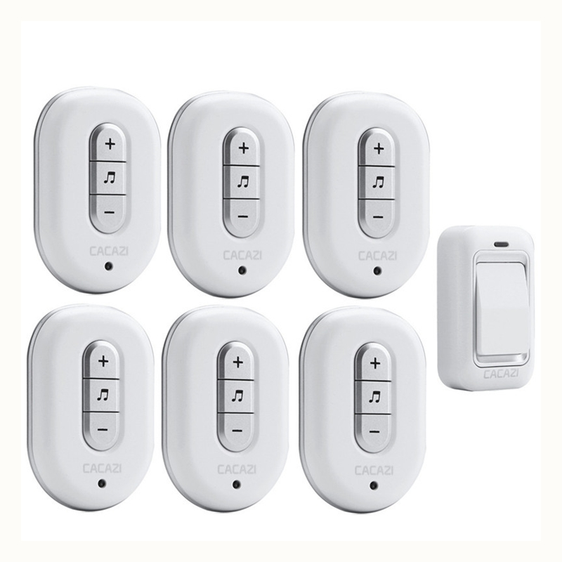 CACAZI Wireless DoorBell No Battery Need Waterproof smart Door Bell Cordless 120M Remote AC 110V-220V 1 transmitter 6 Receivers kinetic cordless smart home doorbell 2 button and 1 chime battery free button waterproof eu us uk wireless door bell