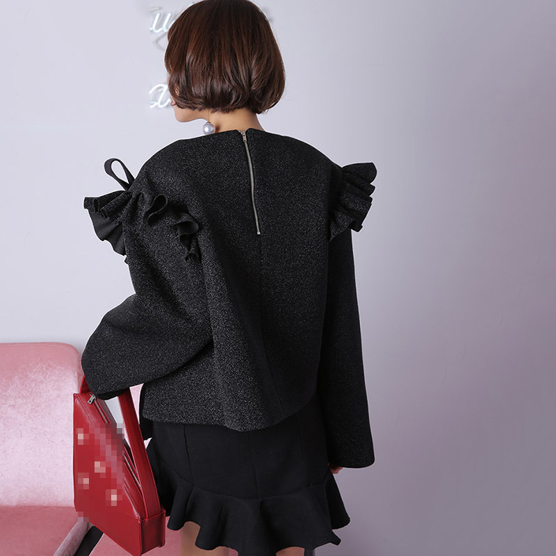 Vêtements Coréenne Femmes Black Femme Chemisier Mode Automne Bandage Ruches Longues Courtes À Chemise Chemises Chicever Glisten silver Manches De Tops O Cou HtgTRqq
