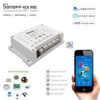 ITEAD Sonoff 4CH PRO 4 Gang 433MHZ Mounting Wireless Control WIFI Smart Switch Home Light Remote