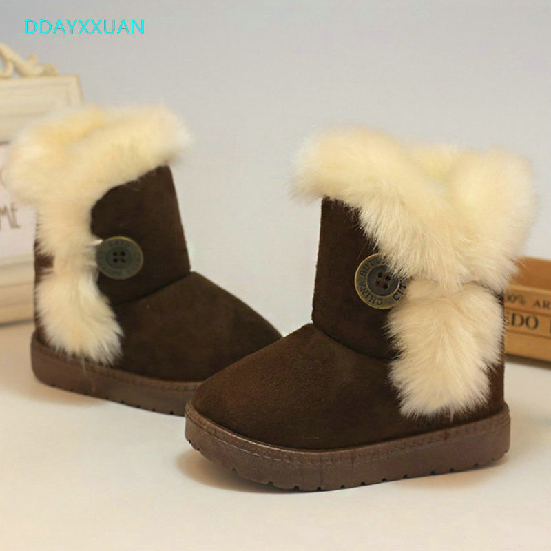 Warm Kids Snow Boots For Children New Brand Toddler Winter Princess Child Shoes Non-slip Flat Round Toe Girls Baby Lovely Boots