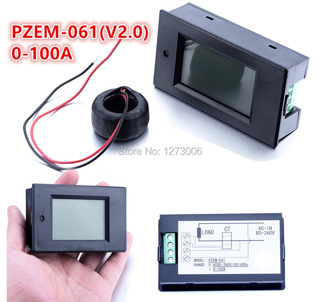 Universal 1pcs 0-100A AC Digital LCD Multi-function Power Meter Monitor PZEM-061 Amp Volt Power
