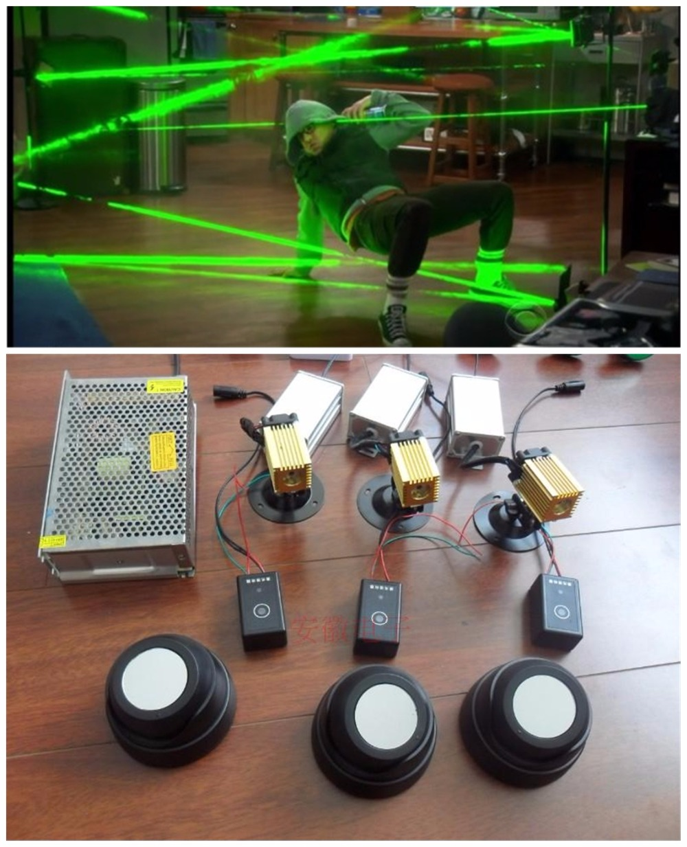 Kit de juego secreto Cámara de escape cámara de escape láser verde sala de la vida Real