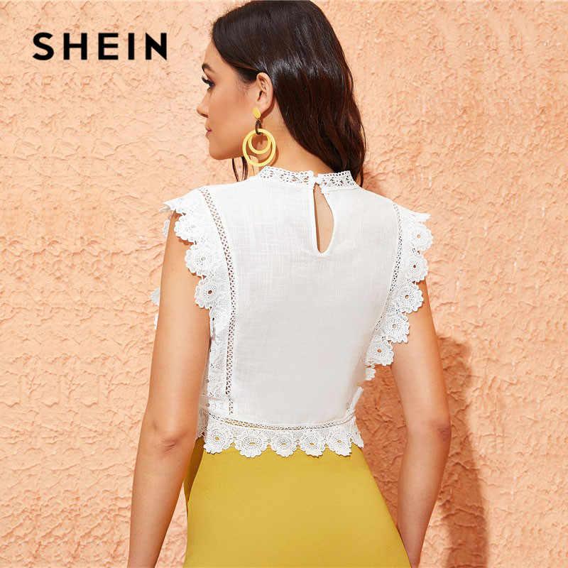 שיין מוק צוואר תחרת Trim רקמה לבן חולצה נשים חולצות וחולצות Boho שרוולים Slim Fit קיץ יבול למעלה