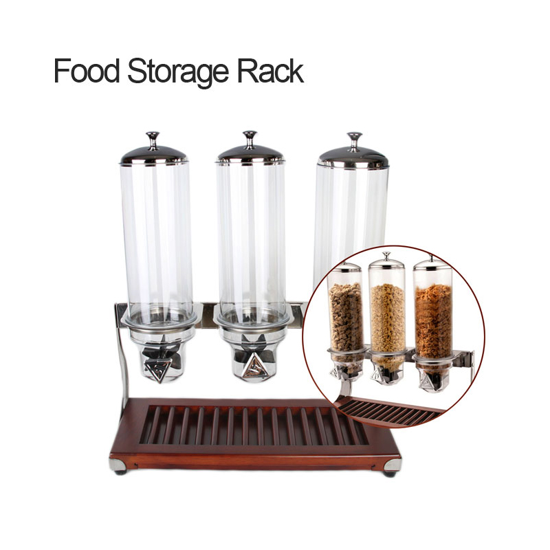 Food Storage Box 4L x3 Wooden Base Triple Head Cereal Dispener Dry Food Dispenser fast delivery