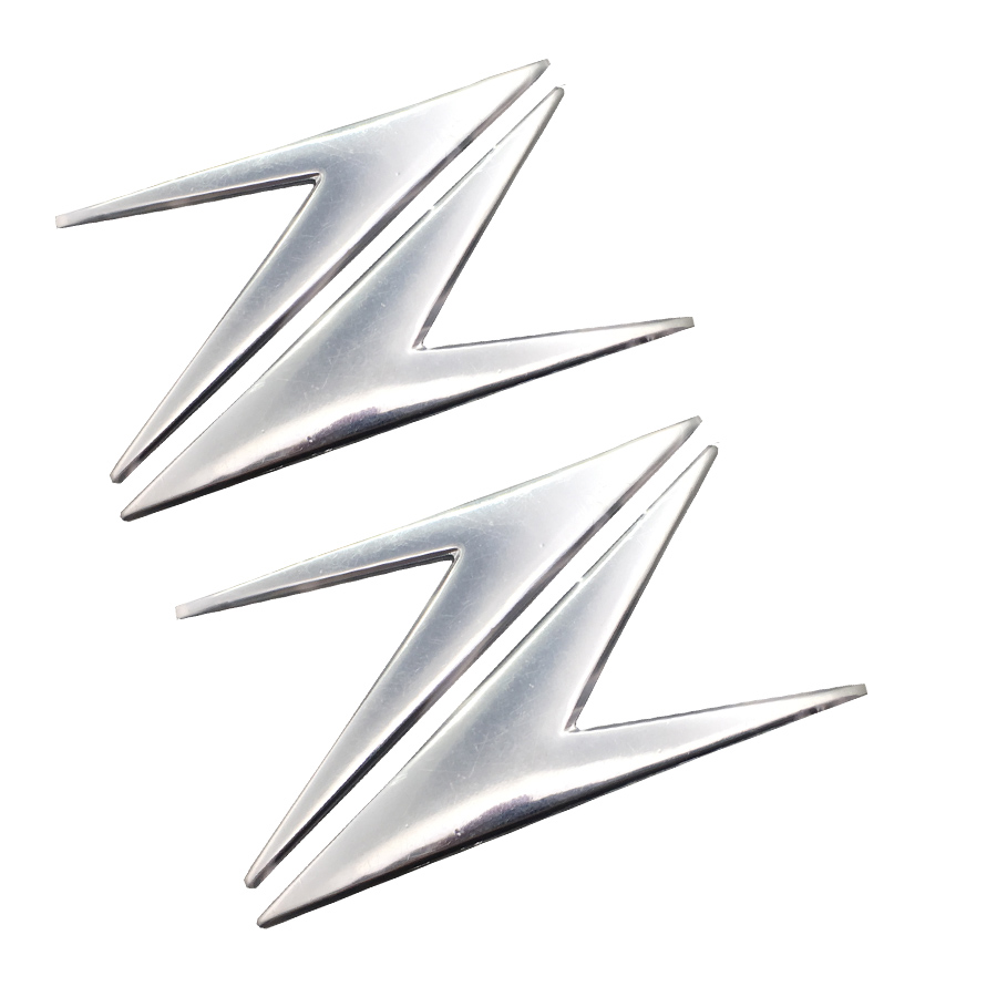 1 Pair Chrome Z Style Motorcycle Sticker Decals 3D Motorbike Fuel Tank Emblem Badge For Kawasaki Z300 Z750 Z800 Z900 ZZR1400
