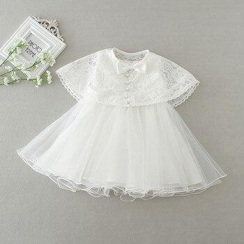 a038a81c0 Vestido de fiesta de bebé blanco + capa 2 piezas ropa de bebé niñas lindo  encaje 0-2años ropa de niñas pequeñas nuevo tutú vestido de bebé