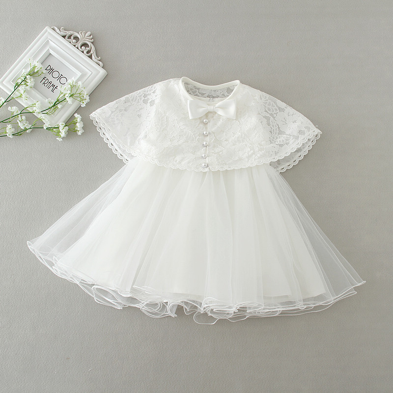 White Baby Party Dress + Cape 2Pieces Baby Girls Clothes Cute Lace 0-2Years Toddler Girls Clothing Brand New Tutu Baby Dress цена