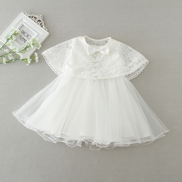 5aceafeac White Baby Party Dress + Cape 2Pieces Baby Girls Clothes Cute Lace 0-2Years  Toddler Girls Clothing Brand New Tutu Baby Dress