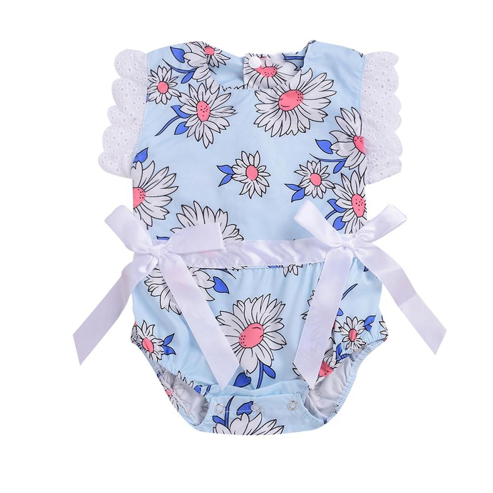 Baby Newborn Girls Floral Pattern Jumpsuit Flare Sleeve Infant Casual Bodysuit Outfits 0-24M(China)
