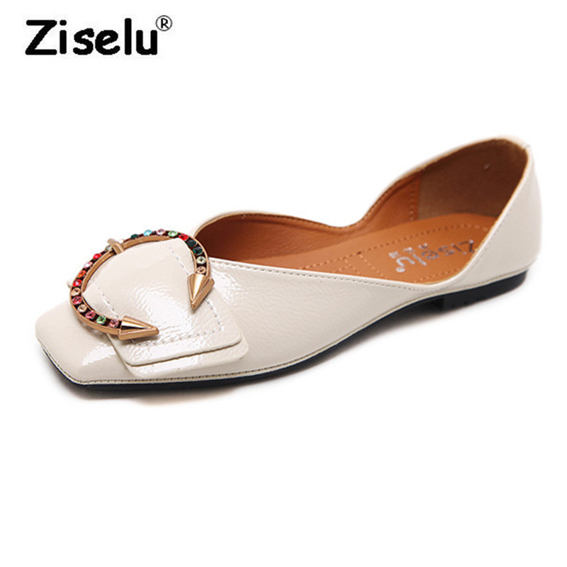 Ziselu Luxury Patent Leather Fashion Square Toe Women Flats Color Crystal Breathable Folding Leisure Shoes 2018 New Summer Flats free shipping candy color women garden shoes breathable women beach shoes hsa21