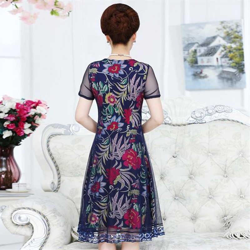 2018 летнее платье с цветочным принтом для женщин среднего возраста, повседневное кружевное платье с короткими рукавами для мам, модное платье больших размеров XL-6XL