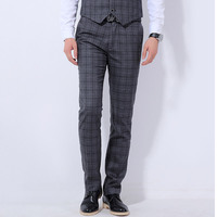 The New 2017 Wedding Dress Men S Fashion Boutique Cotton Checked Suit Pants Men High End