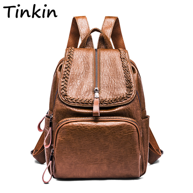 Simple Style Women Backpack Casual Large Capacity School Backpack Preppy Style Shoulder Bag Travel Bag Ipad Poacket Knitting Bag 2017 brand designer women simple style backpack fashion pu leather black school bag for girls large capacity shoulder travel bag