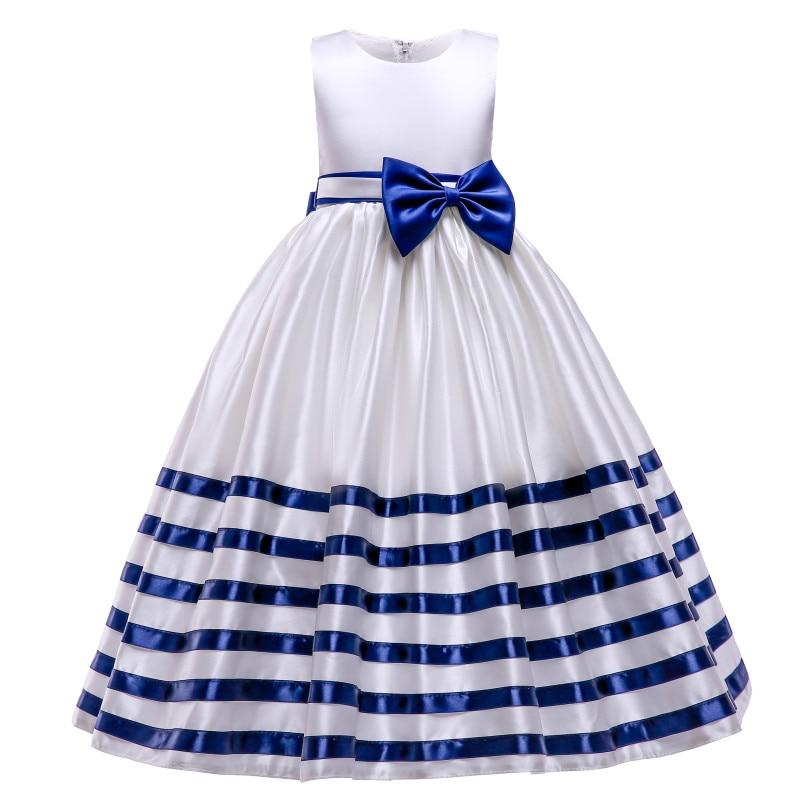 New teen girls long dress striped satin simple dress children bow elegant  princess dress children party host costume summer