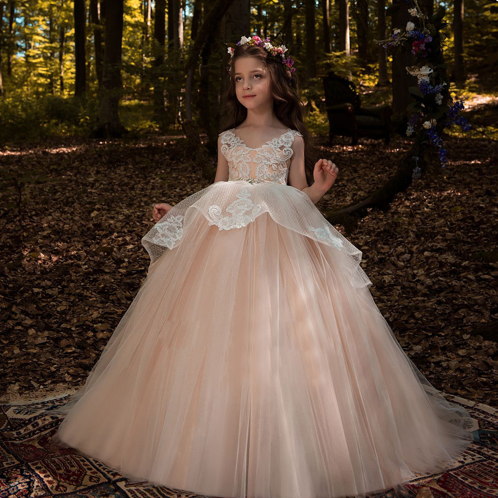 2019 New Pink Appliques Lace   Flower     Girl     Dresses   Long V neck Ball Gown   flower     girl   robes   Girl   Long vestido fiesta