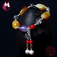 S925 Sterling Silver Bracelet For Women Natural Stone Beads Amethyst Tassel Pearl Bracelet On The Leg Lotus Leaf Jewelry YB29