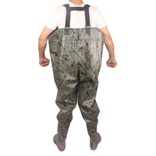 Bigger Wider One-Piece Fishing Waders PVC Digital Camouflage Over Chest Seamless Welding Clothes+Boot Fishing Waders