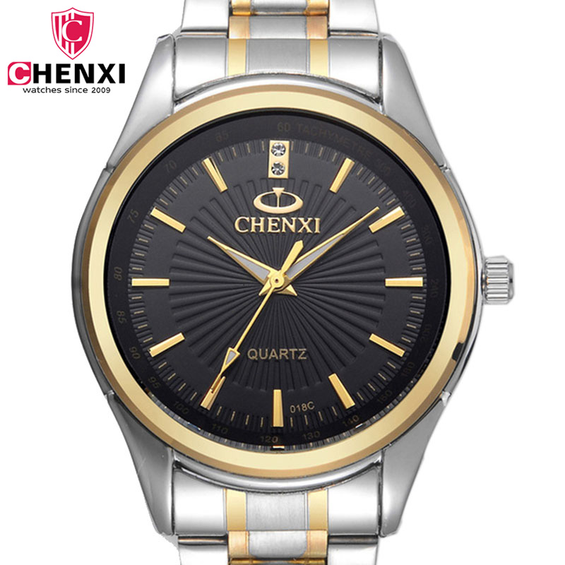 CHENXI Mens Watches Casual Stainless Steel Quartz Bracelet Watch Black Gold Waterproof Wrist Watches Top Luxury Brand Male Clock stylish 8 led blue light digit stainless steel bracelet wrist watch black 1 cr2016