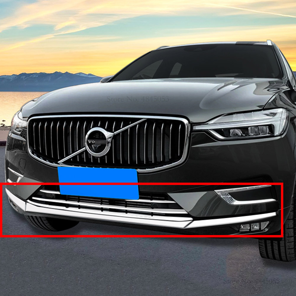 For Volvo XC60 2018 ABS Chrome Front Bottom Bumper Upper Grille Cover Trim 3pcs