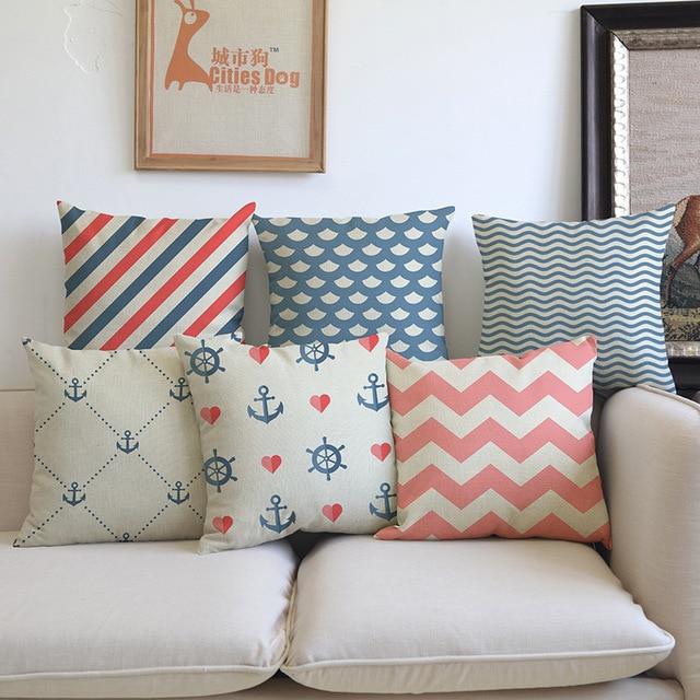 Ocean sea style tessuto blu rosa navigazione geometrica fodere per cuscini fodere per cuscini - Fodere per divano ...