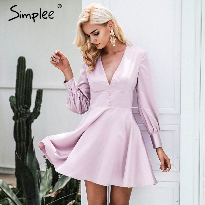 Simplee Fashion satin soft fashion winter dress women V neck short sexy dress Autumn button long sleeve dress vestido de festa