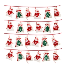 Cotton Christmas Advent Calendar Garland 24pcs 11x16cm Hanging Gift Bags New Year 2019 Family