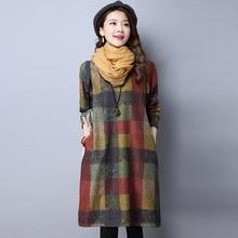 Uego 2018 New Fashion England Style Plaid Thick Autumn Dress Loose Women Winter Woolen Dress Plus Size Casual Midi Dress