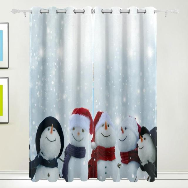 Snowmen Winter Christmas Curtain Drapes Panels Darkening Blackout Grommet  Room Divider For Patio Window Sliding Glass