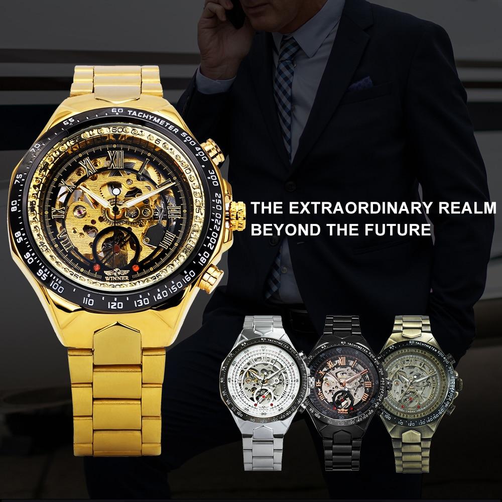 WINNER Vintage Fashion Men Mechanical Watches Metal Strap Top Brand Luxury Best Selling Vintage Retro Design Wristwatches +BOX 14