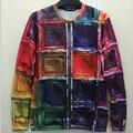 2015 New fashion  women /men's hoody  Colored squares 3d print  thin hip hop 3d  women's sweatshirt   hoodies pullover