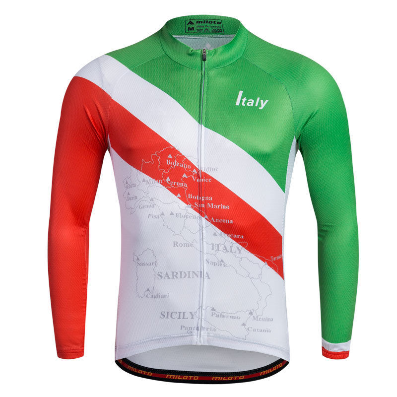 Long Sleeve Cycling Jerseys For Men New Biking Jacket Bike Sports Shirts Reflective Man's Mountain Bike T-shirts Italy new brand phantom bike bicycle cycling jerseys short set sports t shirts gel padded tights for men