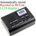 Mini telefone gravador de voz Digital telefone Logger / telefone voz azul Monitor de LCD com relógio função