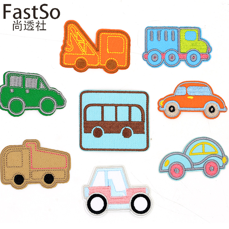 FastSo 1Pcs Cartoon Cloth Baby Cars Clothing Embroidered Patches for Clothes Holes Decoration Iron on Patches Cloth DIY Applique
