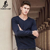 Pioneer Camp Brand Clothing V Neck Solid Sweater Men Thick Fleece Pullover Men Casual Fashion Christmas